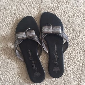 Juicy Couture sequined silver sandals